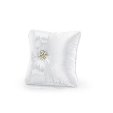 Obrázek Polštářek na prstýnky bílý se stuhou a šperkem 20 x 20 cm
