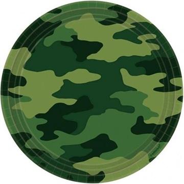 Obrázek Papírové talíře Vojenské 23 cm - 8 ks