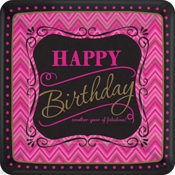 Obrázek Papírové talířky Pink Chevron 18 cm - 8 ks