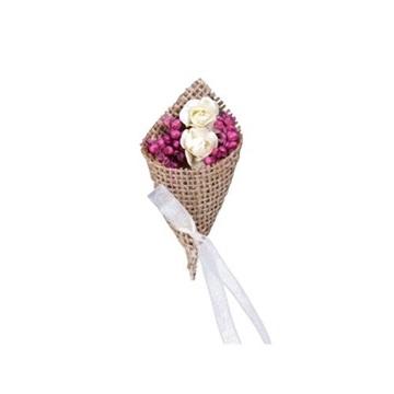 Obrázek Svatební jutový vývazek zdobený květy 2 ks