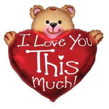 Obrázek Foliový balonek Medvídek se srdíčkem I love you so much 95 cm