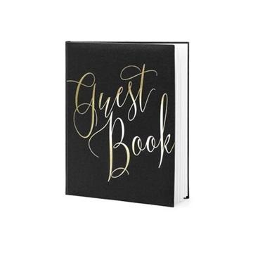 Obrázek Svatební kniha hostů černá se zlatým nápisem