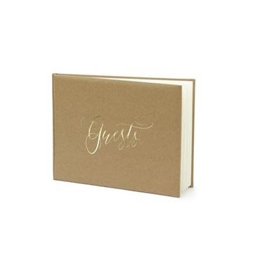 Obrázek Svatební kniha hostů hnědá se zlatým nápisem
