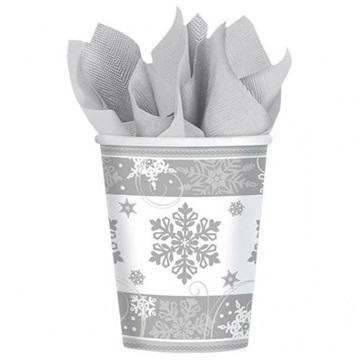 Obrázek Papírové kelímky se stříbrnou vločkou 8 ks