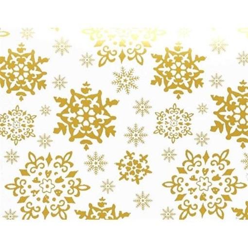 Obrázek z Balící papír Vánoční - bílý a zlaté vločky - 10 m