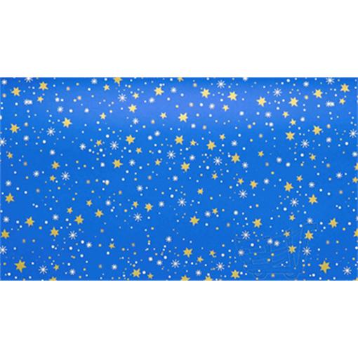 Obrázek z Balící papír Vánoční - modrý a zlaté hvězdy - 10 m