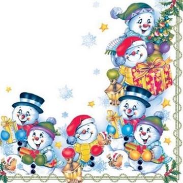 Obrázek Papírové ubrousky se sněhuláky 20ks