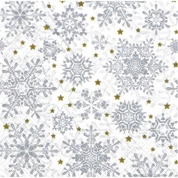 Obrázek Papírové vánoční ubrousky bílé s vločkou 20 ks