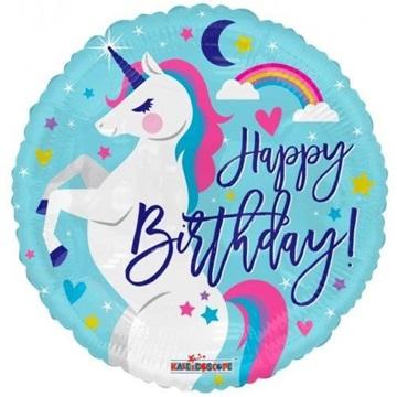 Obrázek Foliový balonek jednorožec Happy Birthday 46 cm