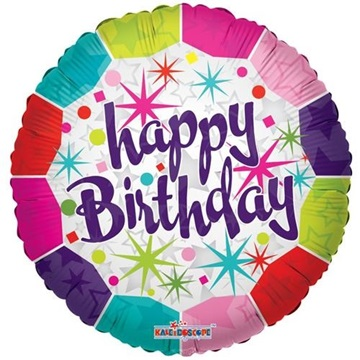 Obrázek Foliový balonek barevný Happy Birthday 46 cm