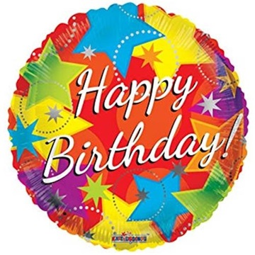 Obrázek Foliový balonek s hvězdami Happy Birthday 46 cm