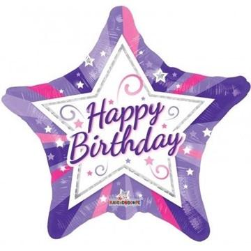 Obrázek Foliový balonek hvězda fialová Happy Birthday 46 cm