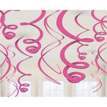 Obrázek Závěsné spirály růžové - 12 ks