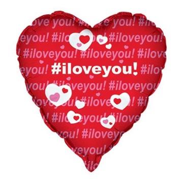 Obrázek Foliový balonek srdce - hashtag - I love you 45 cm