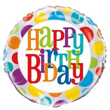 Obrázek Foliový balonek barevné bubliny Happy Birthday 45 cm