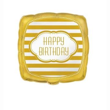 Obrázek Foliový balonek čtverec golden b-day Happy Birthday 45 cm