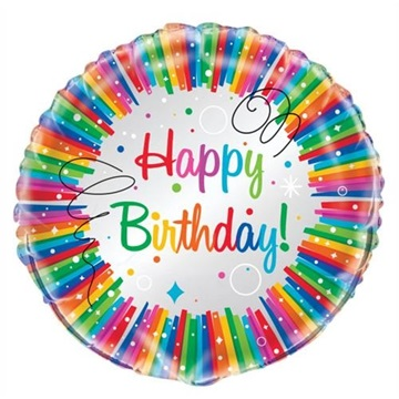 Obrázek Foliový balonek duhový Happy Birthday 45 cm