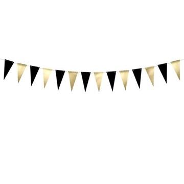 Obrázek Vlaječková girlanda černo-zlatá 215 cm