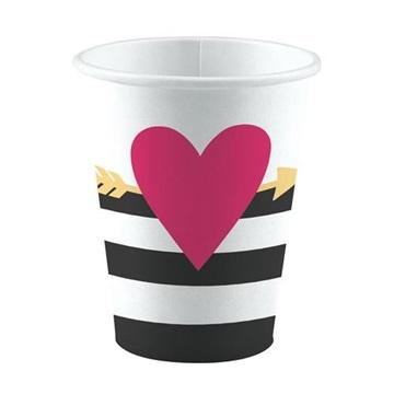 Obrázek Papírové kelímky srdce se šípem Everyday Love 8 ks