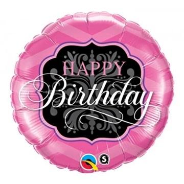 Obrázek Balonek Happy Birthday růžovo černý 46 cm