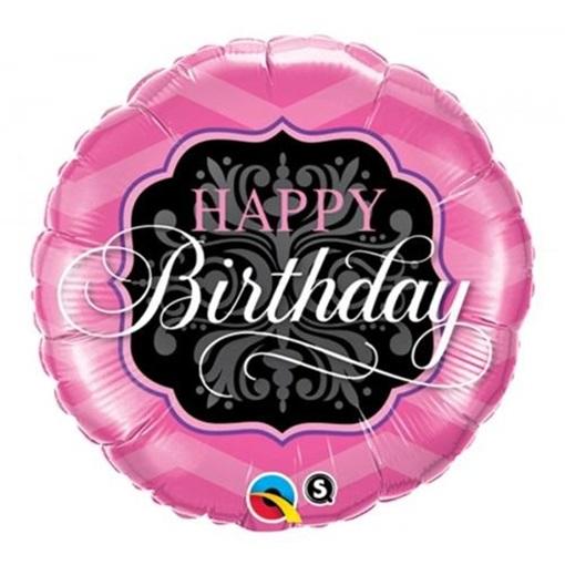 Obrázek z Balonek Happy Birthday růžovo černý 46 cm