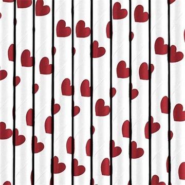 Obrázek Papírová brčka bílá - červená srdíčky - 10 ks