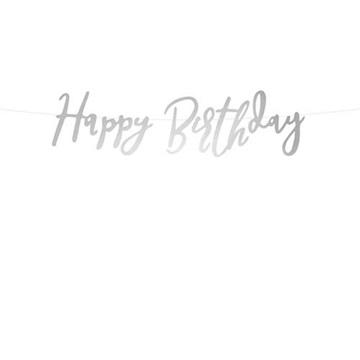 Obrázek Party nápis stříbrný Happy Birthday 62 cm