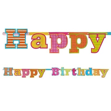 Obrázek Party nápis holografický Happy Birthday 166 cm
