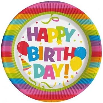 Obrázek Papírové talíře Happy Birthday 22 cm - 10 ks