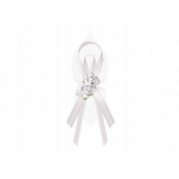 Obrázek Svatební vývazek bílý  s růží 1 ks