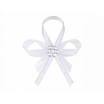Obrázek Svatební vývazky bílé s perličkami 25 ks
