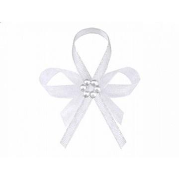 Obrázek Svatební vývazek bílý s perličkami 1 ks