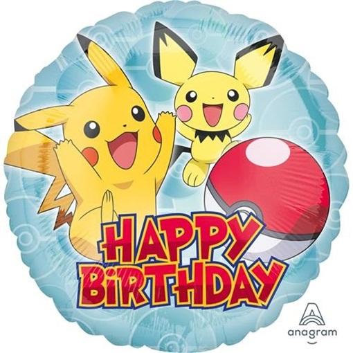 Obrázek z Foliový balonek kulatý Pokemon Happy Birthday 45 cm