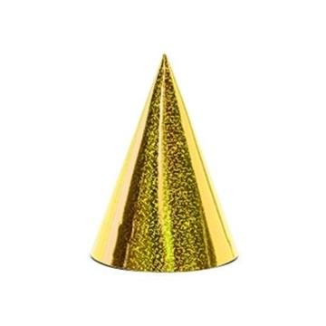 Obrázek Papírové čepičky holografické zlaté 6 ks