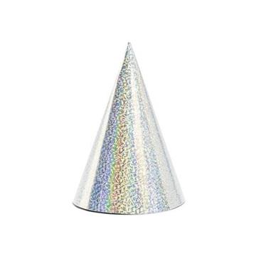 Obrázek Papírové čepičky holografické stříbrné 6 ks