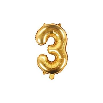 Obrázek Foliová číslice - zlatá 3 - 35 cm