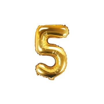 Obrázek Foliová číslice - zlatá 5 - 35 cm