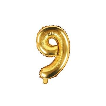 Obrázek Foliová číslice - zlatá 9 - 35 cm