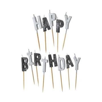 Obrázek Dortové svíčky černo stříbrné s glitrem Happy Birthday 13 ks