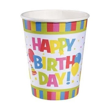 Obrázek Papírové party kelímky Happy Birthday 10 ks