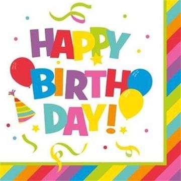 Obrázek Papírové ubrousky Happy Birthday 20 ks