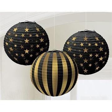 Obrázek Papírové lampiony hvězdy - zlatá a černá 3ks