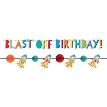 Obrázek Party nápis vesmír Blast Off Birthday 2 ks