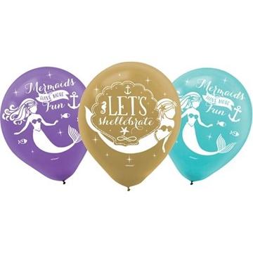 Obrázek Latexové balonky Mořská panna 27 cm - 6 ks