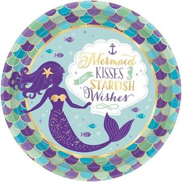 Obrázek Papírové party talíře Mořská panna 23 cm