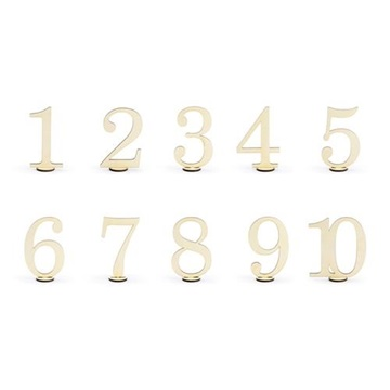 Obrázek Dekorační dřevěné číslice na stůl 10 ks