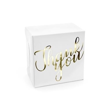 Obrázek Dárkové svatební krabičky bílé Thank you - 10 ks
