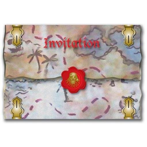 Obrázok z Party pirátské pozvánky Red Pirate 8 ks
