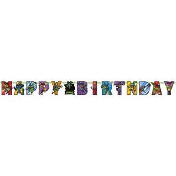 Obrázek Party nápis Želvy Ninja Happy Birthday 200 cm