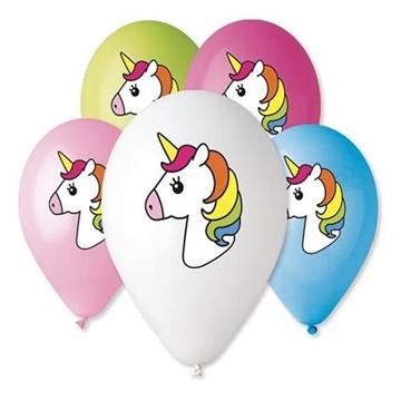 Obrázek Latexové balonky Jednorožec - barevný potisk 5 ks